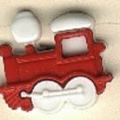 Train engine  button..realistic modern snap-together, white and red plastic button