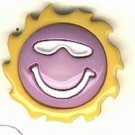 Smiley face with sunglasses button..modern snap-together, gold, white and purple plastic button