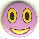 Smiley face button..modern snap-together, black, gold and purple plastic button