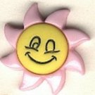 Sunflower Smiley face button..realistic modern snap-together, light pink and yellow plastic button