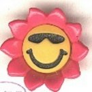 Smiley face button..modern realisic snap-together, pink, gold and black plastic button