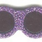 Sunglasses button..realistic modern snap-together, black and purple with glitter plastic button