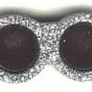 Sunglasses button..realistic modern snap-together, black and silver with glitter plastic button