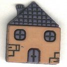 House button, blue and brown colored, realistic plastic snap-together button