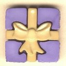 Package with bow button..realistic modern snap-together, lavender and gold plastic button