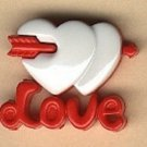Love button..realistic modern snap-together, red and white plastic button