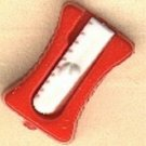 Pencil sharpener button..realistic modern snap-together, red and white plastic button