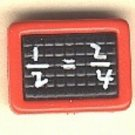 Calculator button..realistic modern snap-together, red and black plastic button