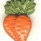 2 Carrot button..realistic modern snap-together, green and orange plastic button