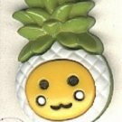 Pineapple button..realistic modern snap-together, green, white and yellow plastic fruit  button