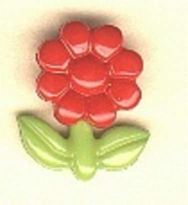 Flower button..realistic modern snap-together, green and red plastic button