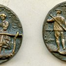 Soldier and Girl on Footbridge set each different, metal antique button studs