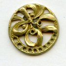 Mistletoe button Art Nouveau brass button one piece pierced vintage button