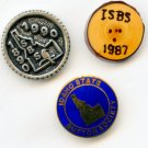 2 Idaho state show favor buttons and official Idaho button society button