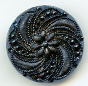 1 Pinwheel pattern black glass button lovely vintage BUTTON