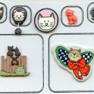 Cat and Kitten buttons pewter rubber ceramic plastic buttons
