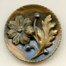 Flower with steels button antique copper button lovely medium size button
