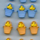 12 Realistic beach Pail buttons with rake shovel and ball modern plastic snap-together buttons