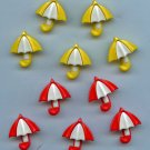 10 Realistic Umbrella buttons modern plastic snap-together buttons