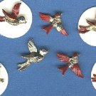 7 birds realistic scatter pins brass painted and paste eye vintage