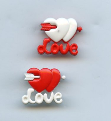 2 Love buttons realistic modern snap-together red and white and white and red plastic buttons