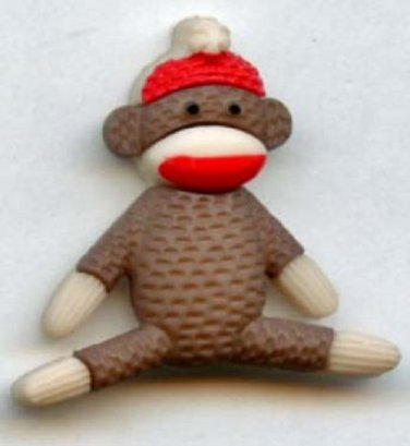 Sock Monkey button realistic modern snap-together brown color plastic button