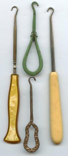 4 shoe button hooks bakelite celluloid and 2 metal vintage shoe hooks