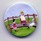 Hand painted ceramic studio button with 3 figures LARGE button B/m J. Hills 96