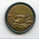 Tyrolean scene button large brass antique button