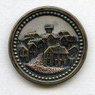 Medieval Village scene button large brass antique button