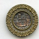 Italian Village scene button large brass antique button