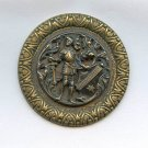 King Arthur with sword and shield large antique button