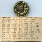 Aeneas mythology button on small card antique brass button