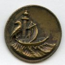 The Ancient Mariner pictorial brass button with ship and bird it has a B/m