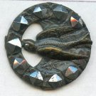 Swallow bird in the Chimney button antique brass open work with faceted steels