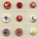 9 vintage small glass kiddie pictorial buttons