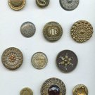 Card of 12 antique interesting metal buttons