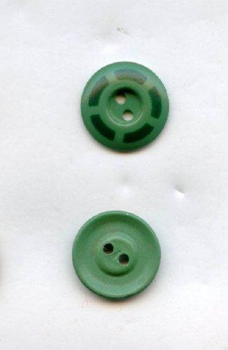 1 Aluminum stencil button green with black vintage size 1/2