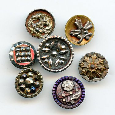 Steel cup buttons 7 small antique buttons dated late 19th century