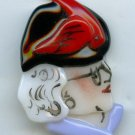 Female head with hat and glasses fused glass realistic large button