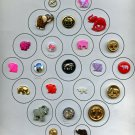 Card of Elephant animal buttons mixed materials buttons
