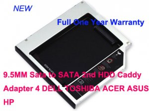 9.5MM Sata to SATA 2nd HDD Caddy Adapter 4 DELL TOSHIBA ACER ASUS HP