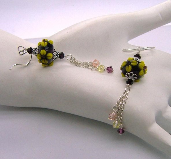 Wine Moxie ~ Lampwork Earrings - 925 silver