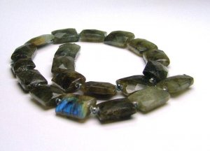 Laboradorite & black dyed freshwater cultured pearl necklace