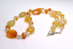Natural Faceted Carnelian & Freshwater Cultured Pearl Necklace