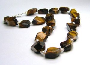 Tiger's Eye Nuggets & Freshwater Cultured Pearl Necklace