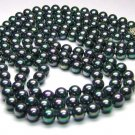 Triple Strands Peacock Black South Sea Shell Pearl Necklace - 925