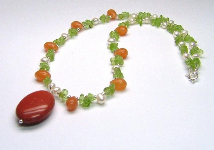 Red Jasper, Carnelian, Peridot, Cultured Pearl Delicate Gemstone Necklace - 925