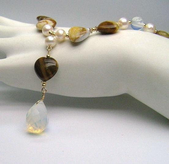 Opal Hearts, Opalite & freshwater Cultured Pearls Necklace