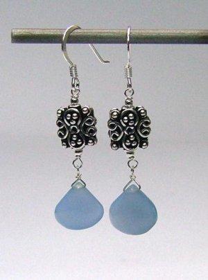 Blue Chalcedony Drop & 925 Silver Earrings